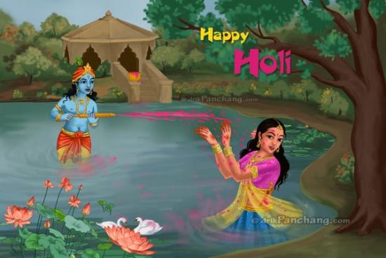Кришна и Радха играют на празднике Холи