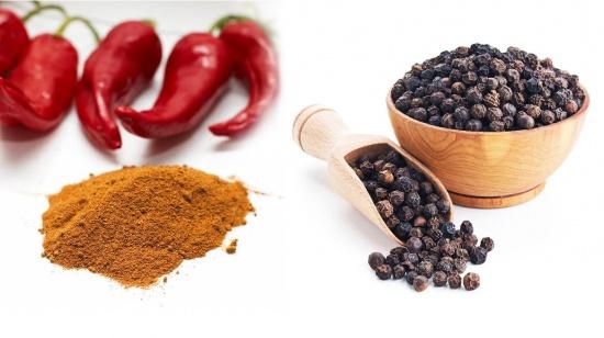 черный и красный перцы